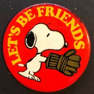 Vintage,Peanuts, Snoopy, Let's Be Friends 1958 Pin
